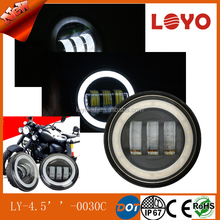 Round Black Chorm 4.5 inch 30w motorcycle led fog light for Harley with angel eyes