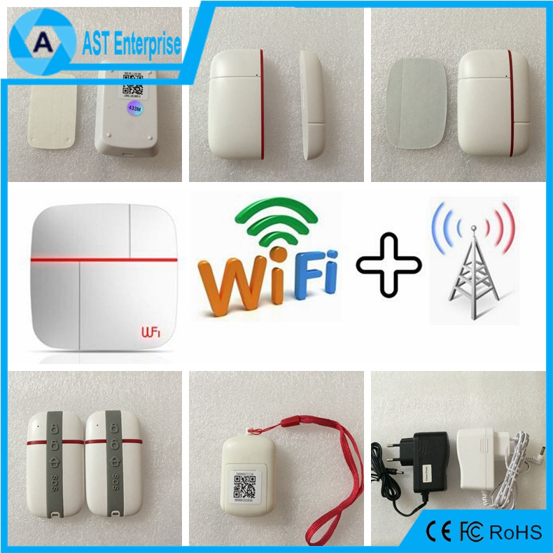 alarm Kits B Android&IOS App WIFI&GSM home dual network security alarm system with two way audio ip camera One-key SOS alarm