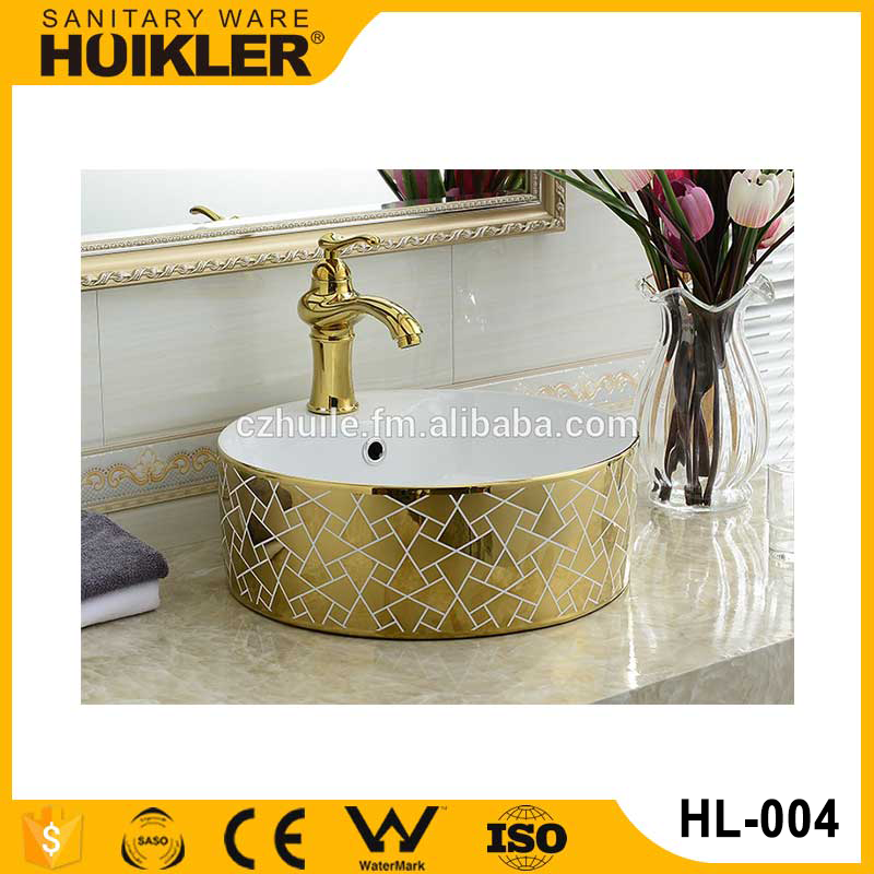 Vanity top sinks ceramic gold wash basin bathroom electroplate art basin