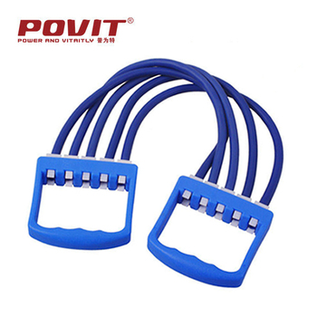 Fashion tpr gym fitness equipment five tubes chest expander ,latex resistance bands with hooks
