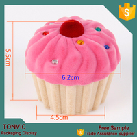 NEW Proposal Case Cute Candy Color Cup Cake Ring Earrings Storage Box Jewelry Box Velvet Gift Boxes