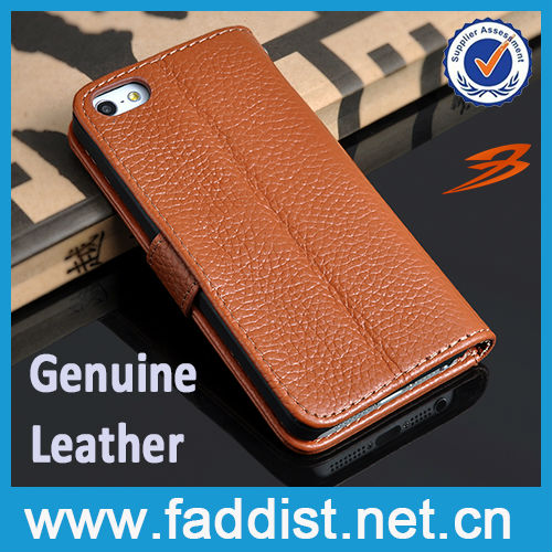 litchi and retro leather wallet flip cover case for iphone5s 5