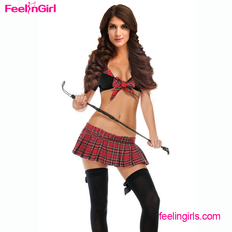 Private label Girls Sexy Black Red Grid Sets halloween costumes school girl