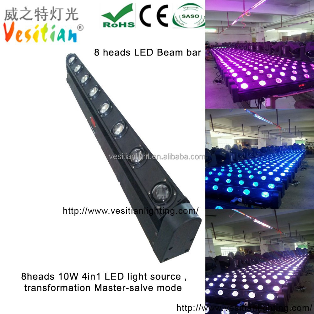 mini beam projector moving bar 10w white 8*10w RGBW 4in1dmx led dj light bar,8 heads dual led beam sweeper