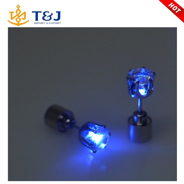 Charm LED Earring Light Up Crown Glowing Crystal Stainless Ear Drop Ear Stud Earring Jewelry
