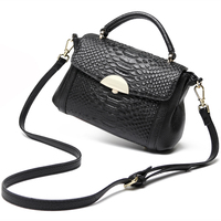 italian Leather Genuine Women Handbags Tote Shoulder Bag Casual Black