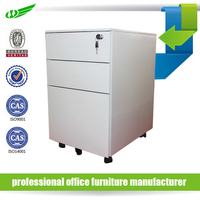 Metal 3 drawer movable filing cabinet