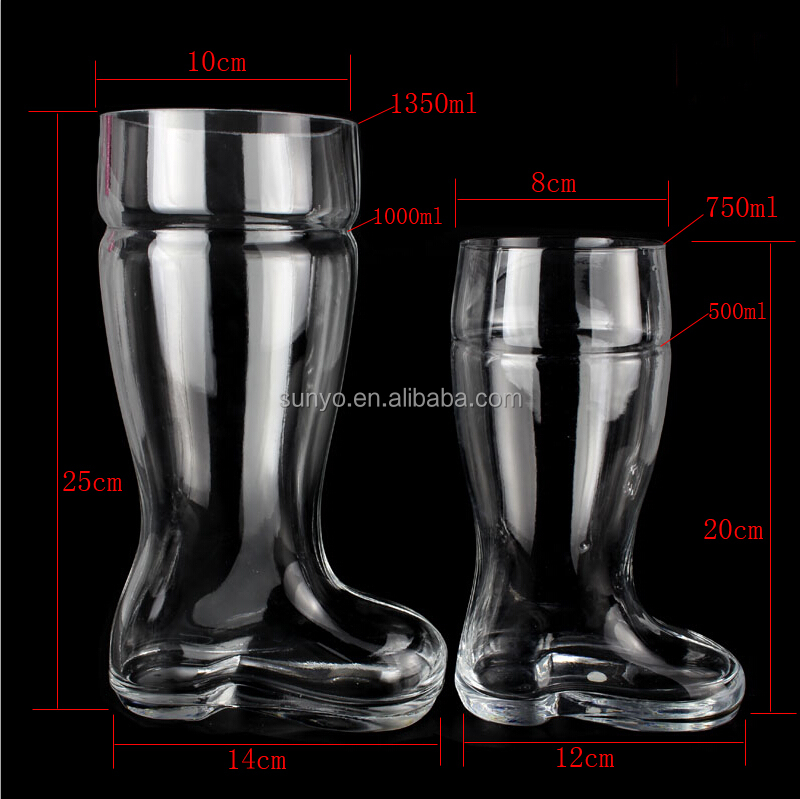 Handmade Five Different Capacity Beer Glass Boot Steins