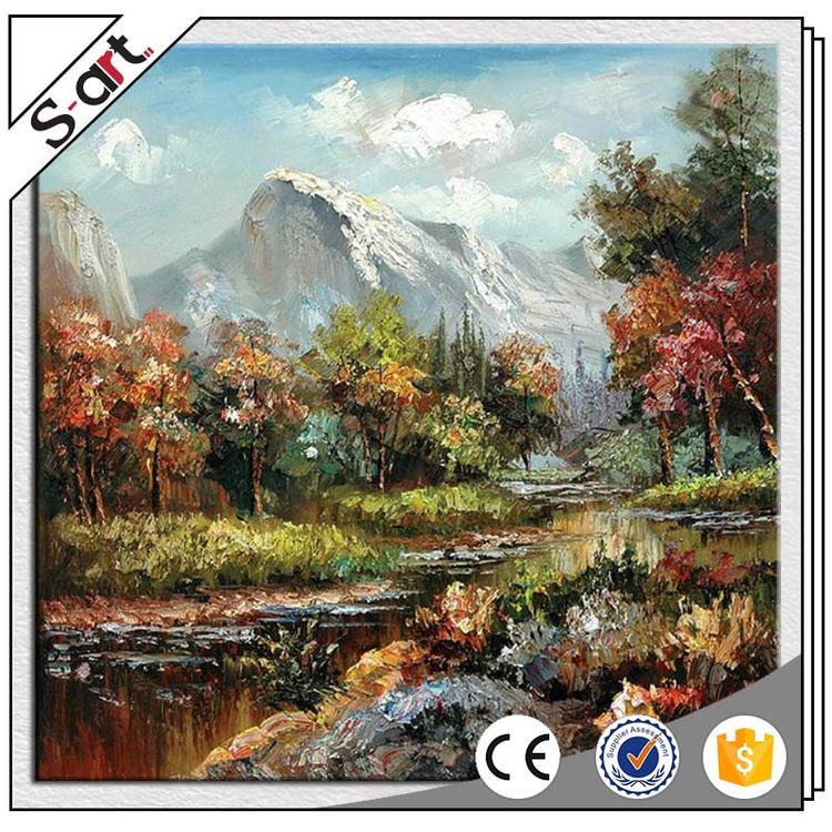 Good reputation newly design diy oil painting autumn landscape