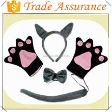 factory sale Wild Gray Wolf Headband Bow Paw Gloves Unisex Halloween Party Costume Set
