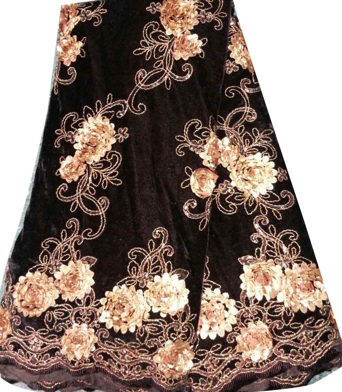 CL9205-1 embroidery velvet with flowers lace fabric