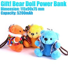 Promotional Gifts! 5200 mAh Bear Doll Portable Power Bank With Lanyard / Keychain Made in China