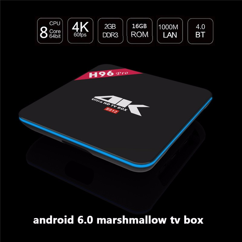 New s912 Android tv box H96 pro KODI 17.0 Octa Core 4K 2G 16G Smart Box