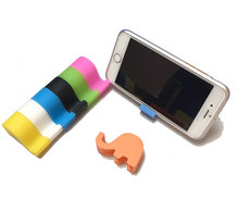 Cheap mini elephant shape silicone rubber cell phone stand gift mobile phone holders