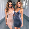 Best selling sexy deep v neck bandage spaghetti strap woman dress