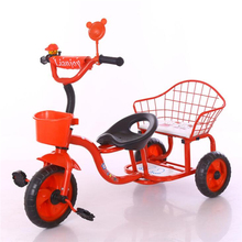 Double Baby walker Trike,Kids Tricycle Two Seat Double Tricycles for Children with trailer