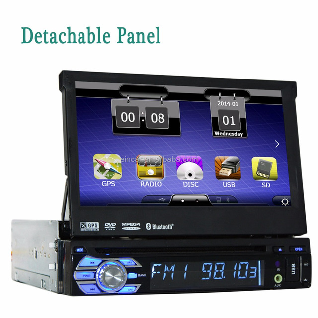 7 inch 1 din Car DVD Player Stereo GPS Navigation Digital touchscreen Panel detachable Built-in Bluetooth Radio Audio unit Video