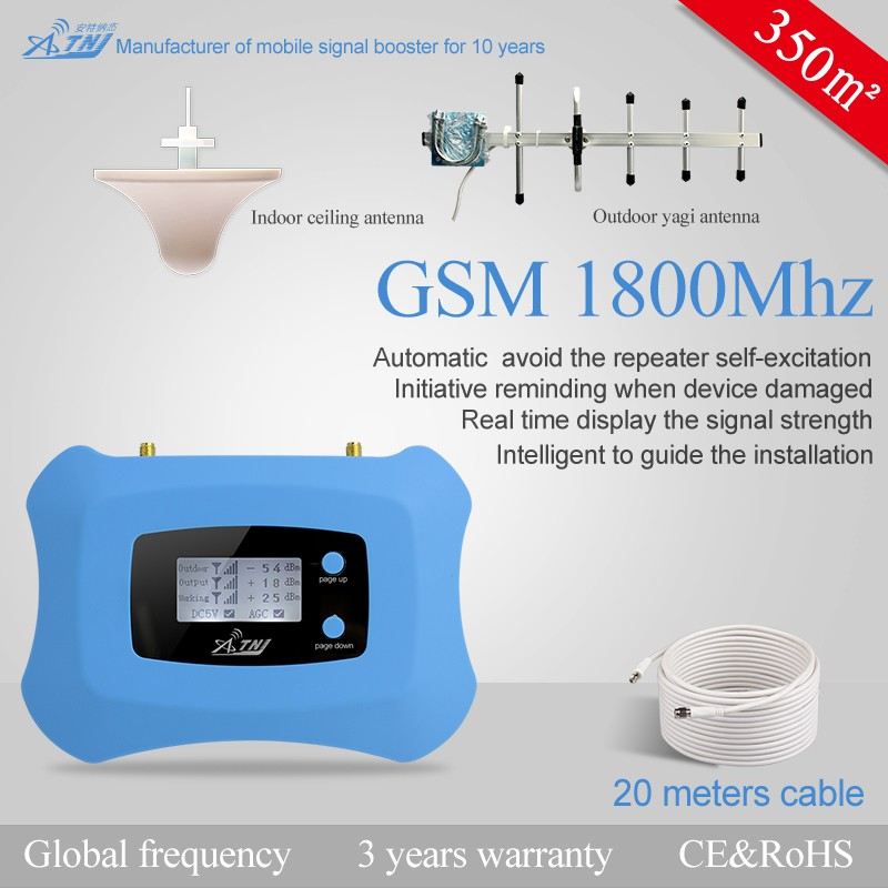 New fashion dcs1800mhz mobile signal repeater, 2g 4g enhancer+ceiling antenna + yagi antenna + cable + power adapter
