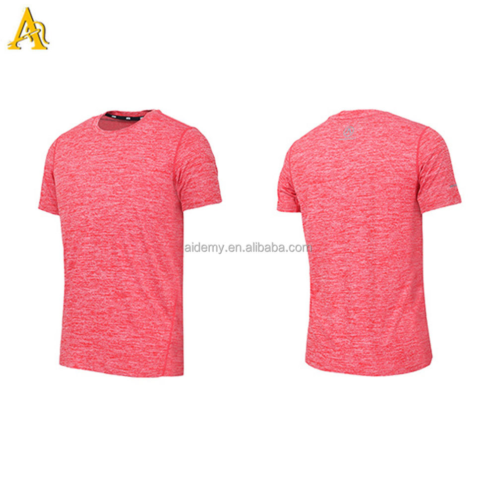 Fashion Tapered Fitness T Shirt Heather Mens Gym T Shirts Soft Polyester Spandex Slim Fit Sports T Shirts