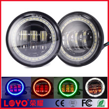 Round led fog light lamps with halo ring angel eye for harley 30w 4.5'' osram fog light