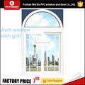 High quality Lowest price pvc arch window that open with grill design