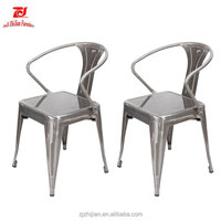Industrial Chic Style Metal Stackable Cruve Armrest Chairs Antique Appearance antique armchair