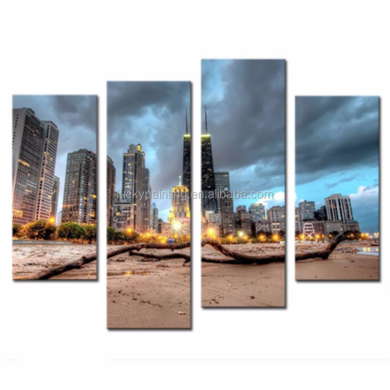LK478 4 Panel Chicago Trunk On Beach Near Modern Buildings Wall Art Painting Pictures Print On Canvas City The Picture For Home