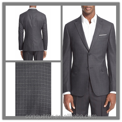 OEM Factory Price Customized Two Button Notch Lapel Men's Cashmere Wool Plaid Suit (SUIT62238)