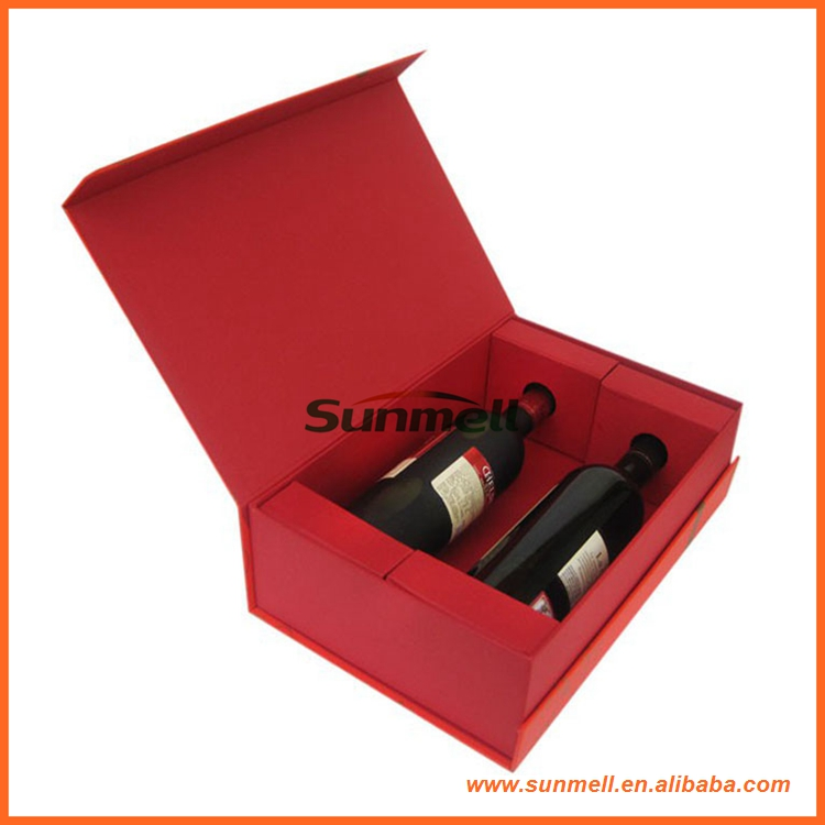 custom red wine gift box for 2 bottle with good quality