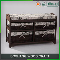 2 Seater Storage Indoor Bench Baskets stool chairs