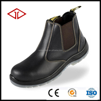 no lace Industrial PU Injection no lace Outsole Genuine Leather Safety Shoes with Steel Toe Cap