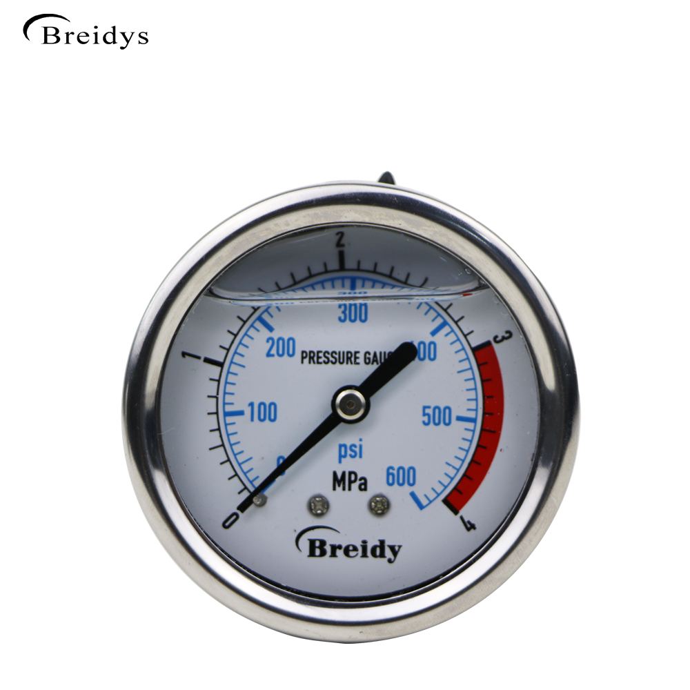 "2.5"" China manufacture back mount hydraulic manometer pressure gauge 0 - 600 psi"