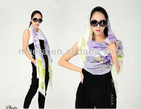 SWW451 Wholesale+Graranteed New design hand-painted 200N 100% wool scarf