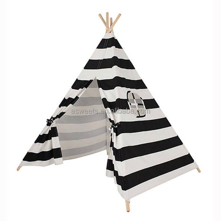 Kids Indian Tipi White And Black Stripe Children Teepees Cotton Canvas Playhouse Fabric Indoor Play House