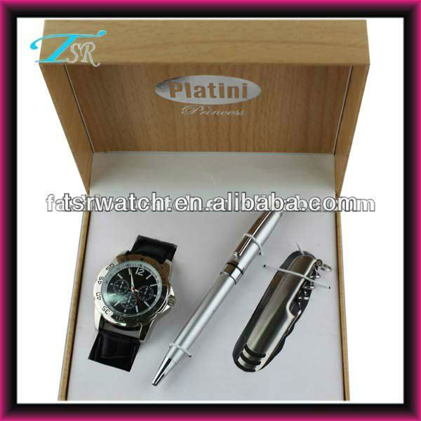 New design men business gift sets wristwatch set 2016 (watch+pen+knife)
