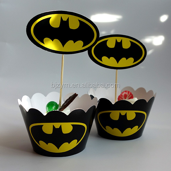 Printed paper bat man design wedding party decorations laser cut cake decorating tools Cupcake Wrapper and Topper picks on sale