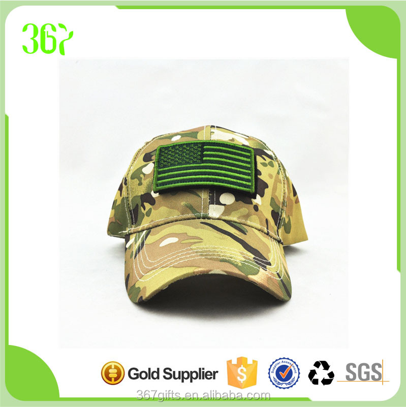 Six Panel Cotton Applique Camouflage Baseball Military Cap with Velcro Patch