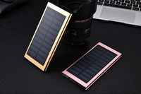 2017 NewBest Aluminium Alloy Ultra Thin Solar Power Bank Mini Portable Solar Charger USB 8000mah Solar PowerBank for Smart Phone