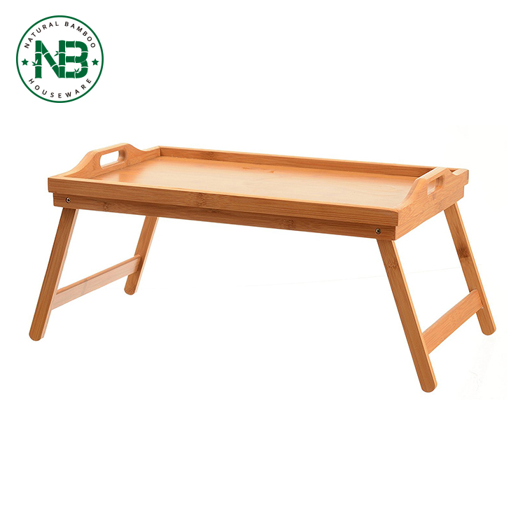 Portable Fancy Bamboo Laptop Desk Table Serving Bed Trays With Folding Leg