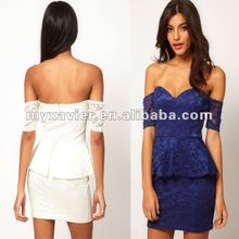 Off Shoulder Lace Dress with Peplum 2012 New Design Ladies Dress