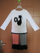 new real pic of embroidery cat applique halloween holiday baby outfit with polka dots and stripe pants