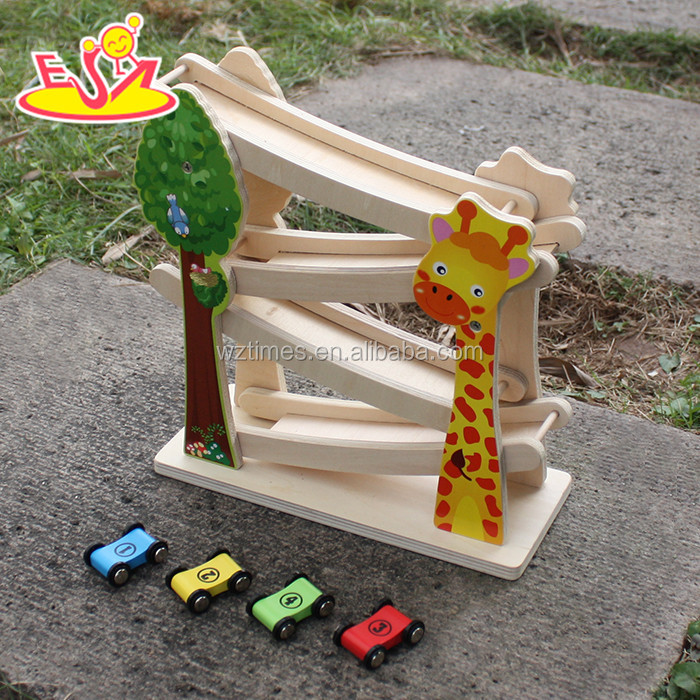 2017 New design wooden Marble Run toys funny wooden speed car toys educational wooden marble run for toddlers W04E044