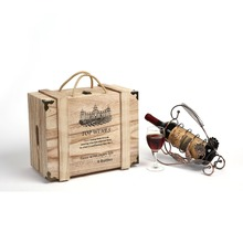 Handmade Vintage Natural Paulownia Wood 6 Wine Bottle Travel Storage Box Carrying Display Case,String Handle Portable Wine Box