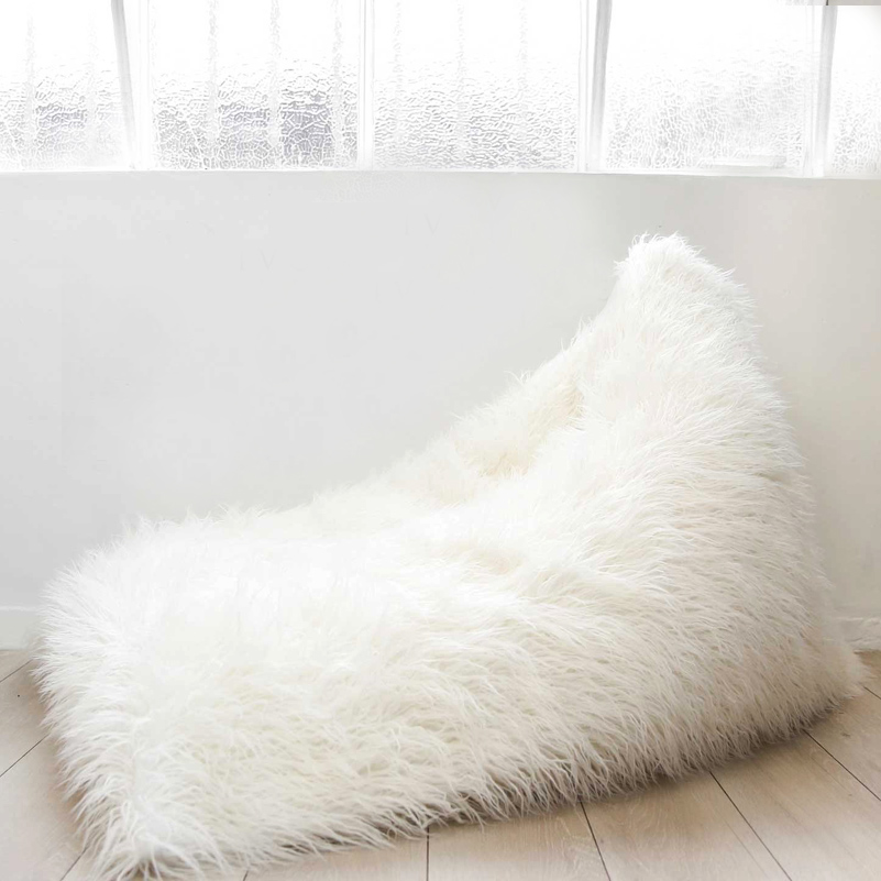 Taidian brand wholesale White Furry Faux Fur kids bean bag Triangle Child beanbag chairs