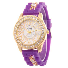 2016 New Design Silicone watch chain Diamond Ladies personality digital quartz watch