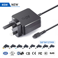 45W universal ac laptop adapter battery travel charger UK plug with 11 tips 5V USB