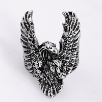 SpecialShipping Europe Style 316L Stainless Steel Eagle Wing Cool Skull Silver Ring Eagle Big Wings Ring Eagle Wings Motorcycl