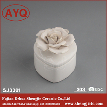 special beautiful unique rose shape ceramic jewelry box with necklace ring