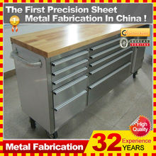 "72"" professional industrial tool chest with wooden top"
