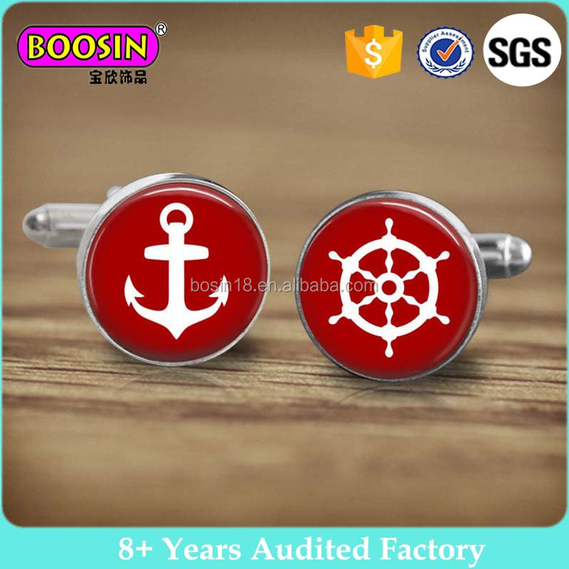Customized cabochon anchor and wheel cuff links for men #C6